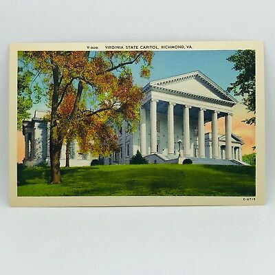 Postcard Virginia State Capitol Building Richmond VA Linen - Unused E-3s