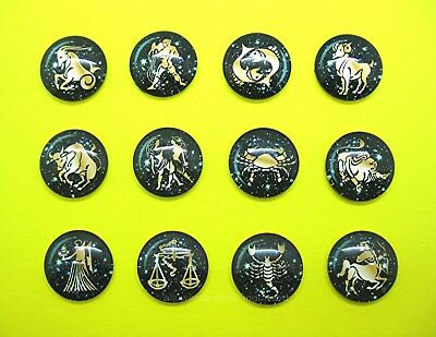 12 new Glass Domed 3-D ASTROLOGICAL ZODIAC Birth Sign 25mm Round craft CAMEOS
