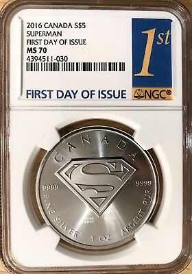 2016 Canada S$5 Superman First Day Of Issue Fdoi Ngc Ms 70