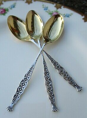Lot of 3 Vintage Sterling Silver Whiting Demitasse Spoons ~ Gold Wash Bowls