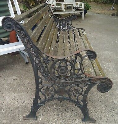 Vintage Cast Iron And Timber Park Bench
