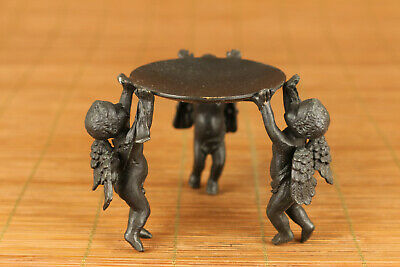 Rare chinese old Bronze angel Statue oil lamp stand table decoration