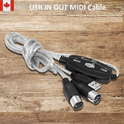 MIDI To USB Cable Interface Converter PC IN Music Keyboard OUT Adapter Cords CA!
