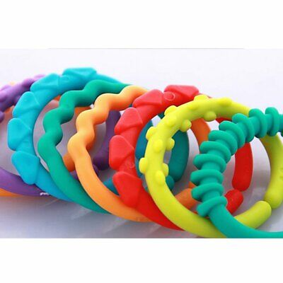 24pcs Baby Teether BPA Free Chewable Teething Rainbow Molars Chain Ring WZ