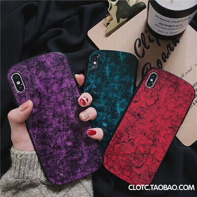 Cracked Marble Shockproof Concise Silicone Case For iPhone X Xs Max XR 6 8 7Plus