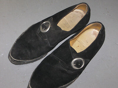 Black Suede 1950/60s Mens Shoes  with Buckle McWilliams??  Size approx UK 8.5