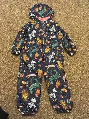 Girl's Navy Jungle Animal Print Puddlesuit. Size 2-3 Years