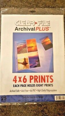 Clear File Archival Plus 4 x 6 Prints each page holds 8 prints x 25 refill pages