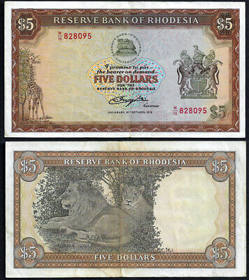 Rhodesia 1978 $5 Note Lions & Giraffe Cheapest Available