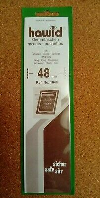 Hawid stamp mounts BLACK backed pack of 25 strips 48mm high x 210mm long. New