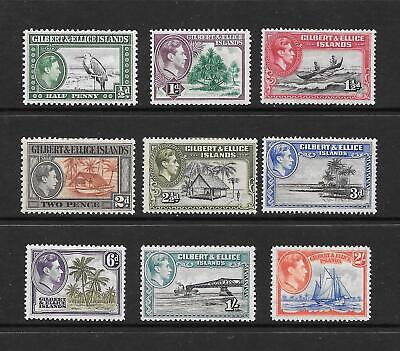 1939 KGVI SG43 to SG52 set of 9 stamps  Mint Hinged GILBERT & ELLICE ISLANDS
