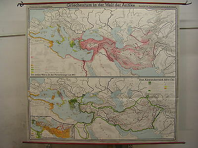 Schulwandkarte Wall Map School Map Old Map Greece Antique 210x190 1973