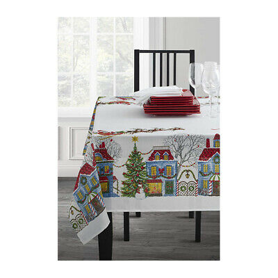 2X(Christmas Village Printed Ribbons Engineered Printed Fabric Tablecloth C H1Y4