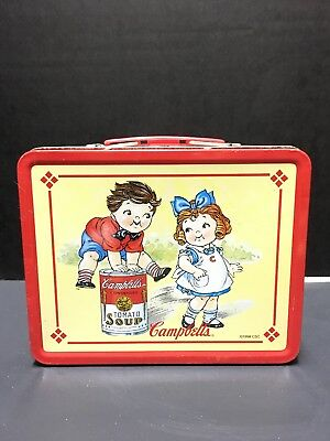 Antique Campbells Tomato Soup 1998 Vintage Collectible Metal Lunch Box Red Used