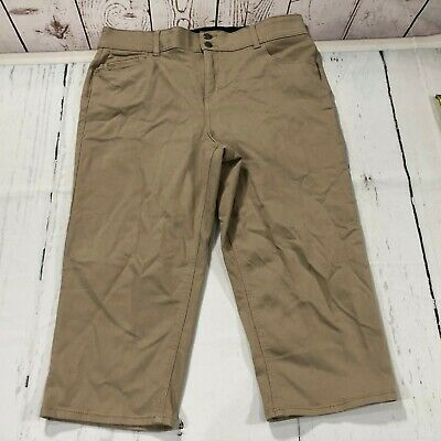 1f0216c774848 Lane Bryant Women Capri Crop Pants Size 16 Tan Khaki Cropped Cotton Blend  C171