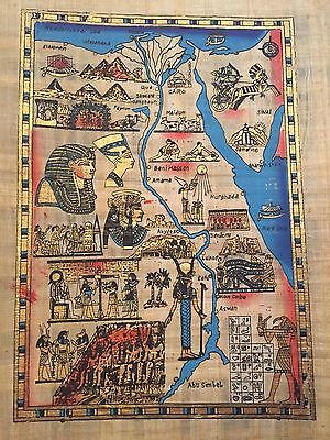 authenticate Huge Ancient Egyptian Map Handmade Painting on Papyrus ..