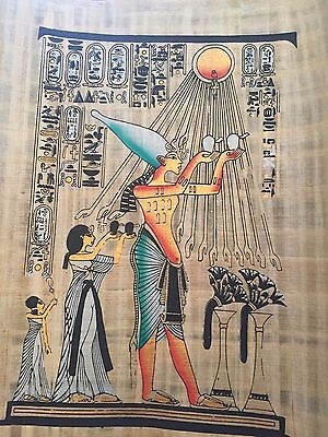 Egyptian Pharaoh Akhenaten and his family worshiping the Aten God Papyrus paint.