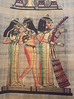 authenticate Huge Ancient Egyptian Royal Musicians Handmade Painting on Papyrus.