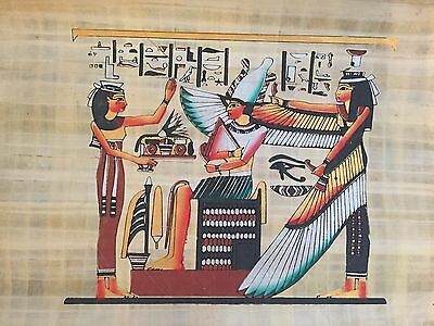 Ancient Egyptian Winged Goddess Isis & Akhenaten Papyrus Painting protection..