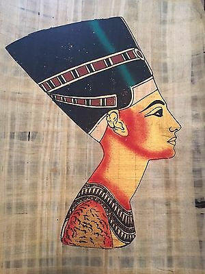 Huge Ancient Egyptian Queen Nefetiti Handmade Painting on Papyrus .