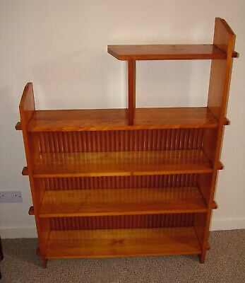 Wooden Shelving Bookcase With Pegged Ends And Staged Open Top Shelf