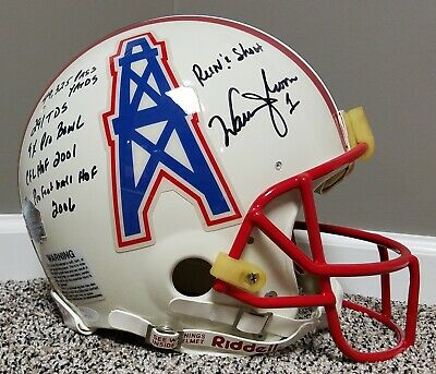 538312a42 WARREN MOON Game Issued Style Autographed AUTHENTIC Houston Oilers Helmet  NFL gu