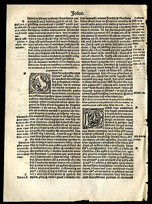 Book of Joshua Chapters 3 -5  1519 Latin Bible Leaf 3 Historiated Letters