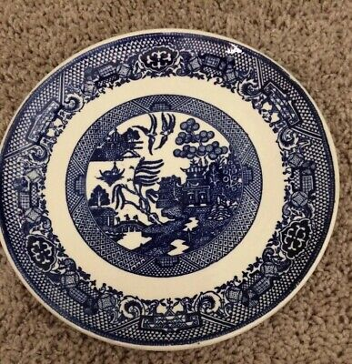 """Vintage BLUE WILLOW  DINNER/LUNCHEON PLATE 9 1/8"""" No Mark"""