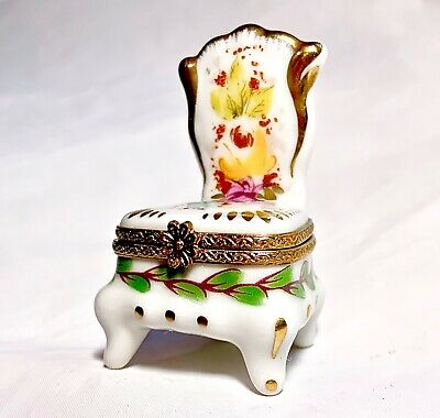 Limoges France French Hand Painted Slipper Chair Trinket Box Peint Main Limoge