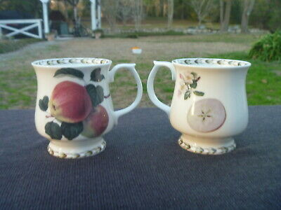 2 Fine China QUEENS Royal Horticultural Society Hookers Fruit APPLE Footed Mug