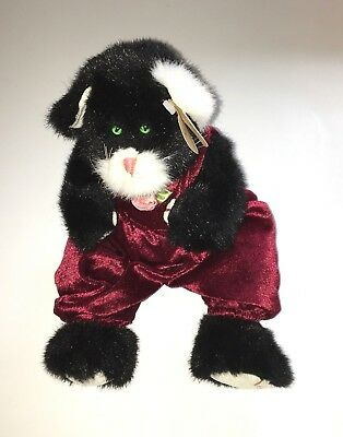 "Ty The Attic Treaaures Collection Beanie Buddy ""Ebony"" the Cat in Jumpsuit NEW"