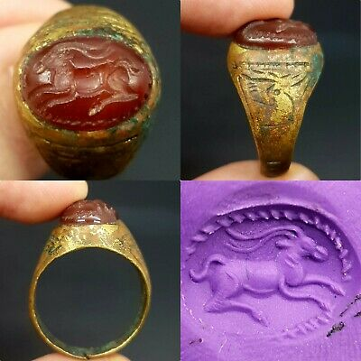 Antique rare old bronze wonderful intaglio agate stone lovely ring