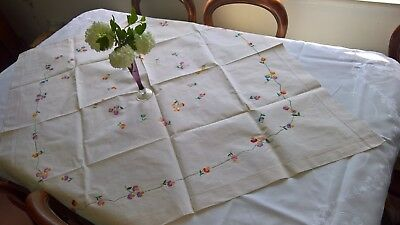 "Table Cloth Antique, Hand Embroidered Cream Linen, App 120 Cm (47"") Square"