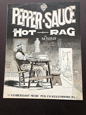 1910 COMIC BLACK STEREOTYPE sheet music PEPPER SAUCE HOT RAG Piano Solo FISCHLER