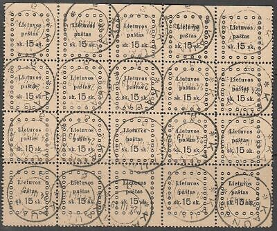 Lithuania 1919 Mi 21 Sheet of 20, Used
