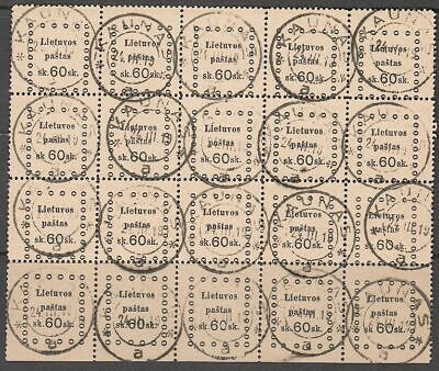 Lithuania 1919 Mi 26 Sheet of 20, Used