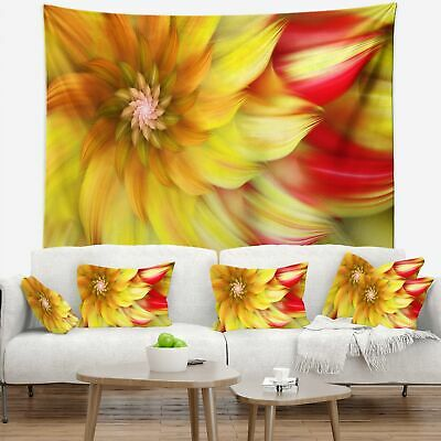 Designart 'Rotating Yellow Red Fractal Flower' Floral Wall Tapestry
