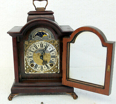 *Old Table Clock Dutch Vintage Antique Mantel Shelf 8 day Clock Warmink Wuba