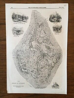 1858 THE ISLE OF WIGHT  Topographical MAP The Illustrated London News Page
