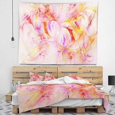 Designart 'Red Yellow Fractal Glass Texture' Abstract Wall Tapestry