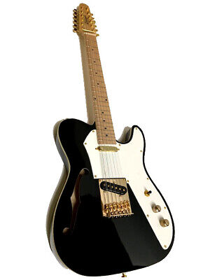 SEMI-HOLLOW 12 STRING BLACK w/ GOLD HARDWARE BOUND  TELE STYLE ELECTRIC GUITAR