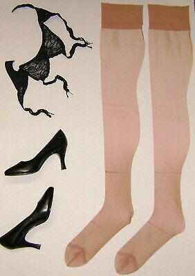Pair Vintage Nylon Stockings Micro Mesh Size 11-33 Garter  Type Princess Hosiry