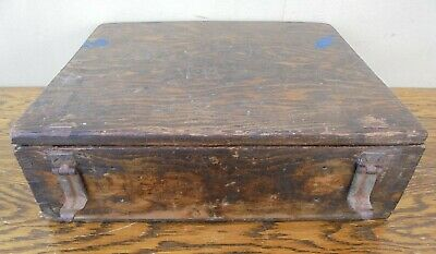 Vintage small wooden tool box, metal catches, very rustic and paint spattered