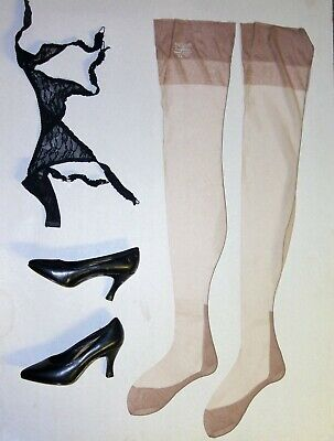Vintage Nylon Stockings Full Fashion Cuban Heel 8.5 Seam Flat Knit Size 8 1/2-31