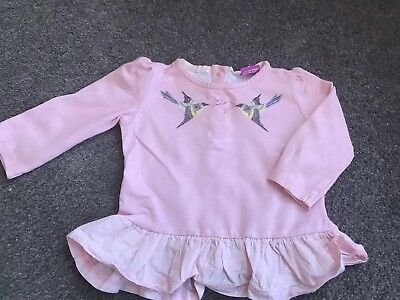TED BAKER Baby Girl pink long sleeved top - Age 6-9 months Bird Design