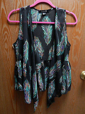 190fdcbaf64 Forever 21 Womens Juniors S P Small Petite Black Sheer Wrap Blouse w