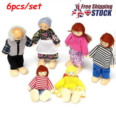 6x Wooden Furniture Dolls House Family Miniature Doll Toy For Kids Child Gift UK