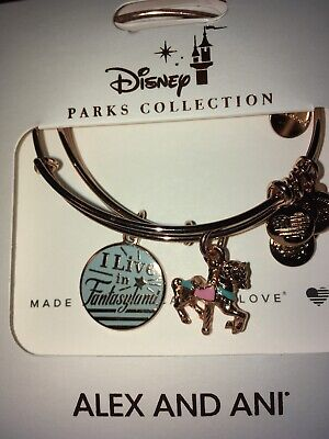 Disney Alex & And Ani I Live In Fantasyland Carousel Rose Gold Bracelet