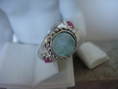 TAGLIAMONTE Designs (620A,621) 925SS Ring W/ Venetian Cameo * Rubies* Moon face*