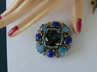 Miracle Signed Brooch Blue Cabochons Celtic Shield gold flecks in blue